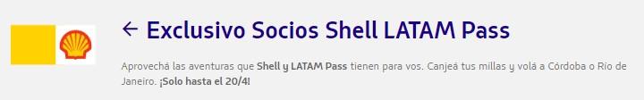 Millas Latam Pass Destino Mes Cordoba Rio de Janeiro Shell 3